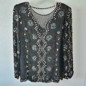 Oleg Cassini Vintage Black Embelished Top Sz-M
